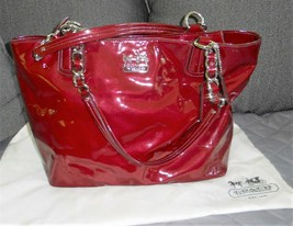 Coach Madison Tote Soft Patent Leather Zip Crimson Red  - $74.14