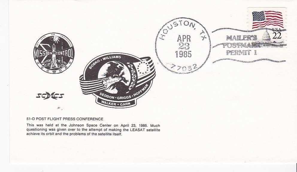 Primary image for 51-D POST FLIGHT PRESS CONFERENCE HOUSTON, TX APRIL 23, 1985 MAILERS POSTMARK
