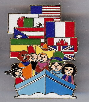 Disneyana 2000 Small World LE Signed flag #12 pin/pins