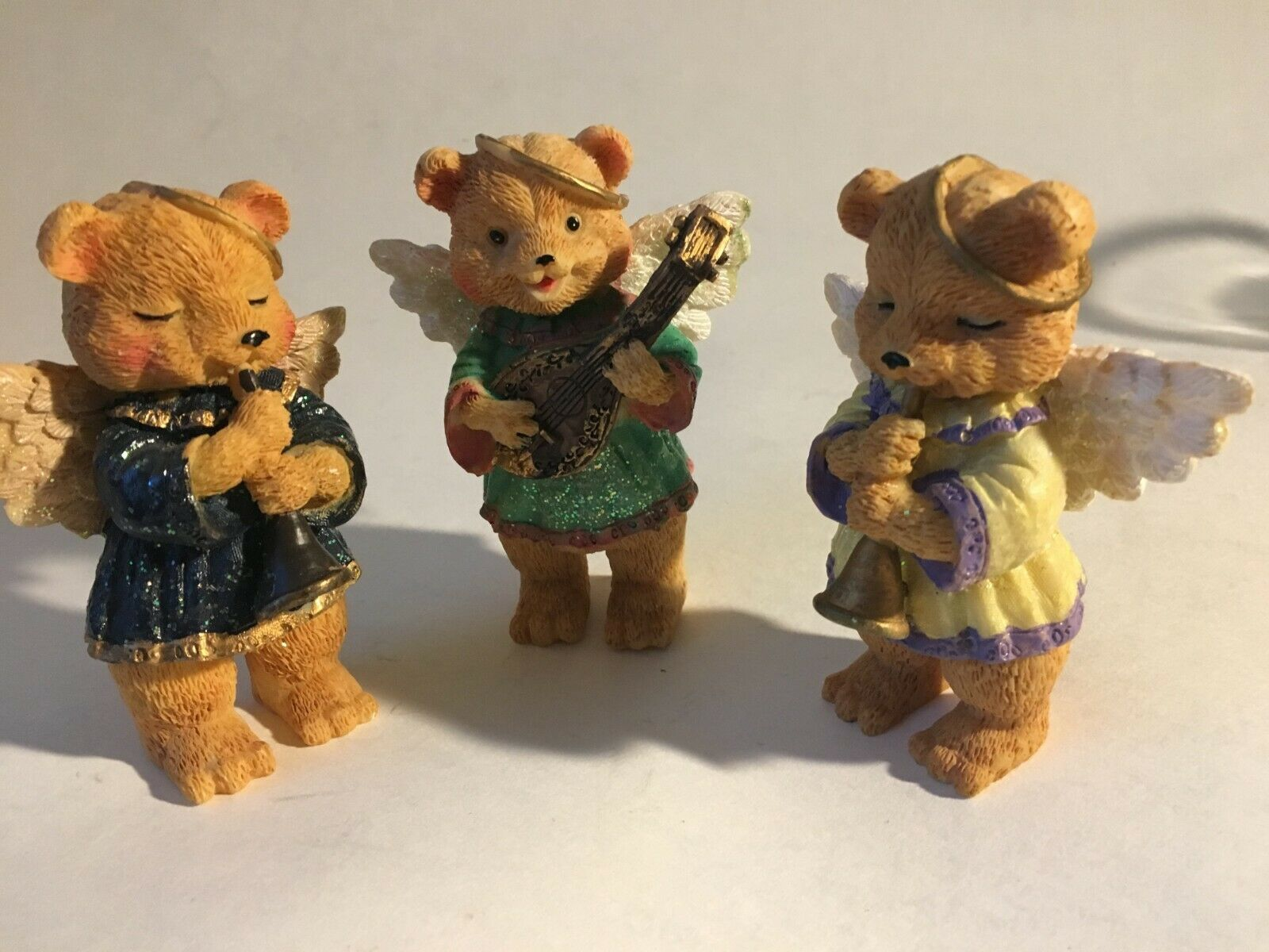3 Bear Angels Musical Band Instruments Resin Figurine 4""