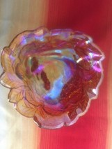 PRETTY PRETTY!! Carnival Glass GRAPE LEAVES ANTIQUE BOWL IRIDESCENT - $8.60