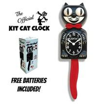 "CRIMSON ROYALE Kit Cat CLOCK 15.5"" Black Red Free Battery USA MADE Kit-C... - $62.62"