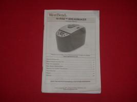West Bend Bread Maker Instruction Manual for Model 41300 - $12.19