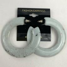 Vintage 80s Plastic New Wave Blue Hoop Earrings Pierced NOS Speckled Fun... - $12.58