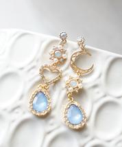 Baby Blue Dangle Korean Earrings, Kpop Earrings, Blackpink Jennie Solo Earrings - $16.71