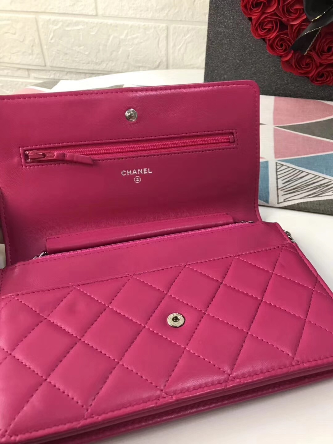 100% AUTH CHANEL WOC Quilted Lambskin PINK Wallet on Chain Flap Bag SHW image 5