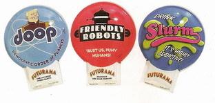 Futurama Slum, Zap Brannigan, Robots 3 click tin toys