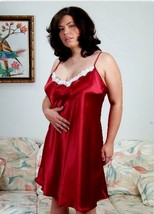 Red Silky Satin Nightgown Chemise XS S M Short Gown Tie Straps - $14.99