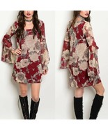 Burgundy Taupe Floral Bell Sleeve Dress Sz Small - $38.00