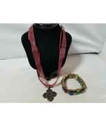 Premier Designs Signed Women's Necklace Pendant Flower & Matching Bracelet - $28.12