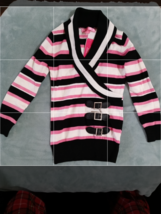 GIRLS PULLOVER SWEATER STRIPE PINK,BLACK& IVORY SIZE 4(S)Belt Accents & ... - $23.99