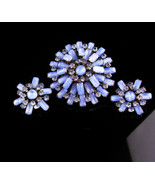 Vintage blue Rhinestone Brooch - clip Earrings - faux star sapphire - 19... - $110.00
