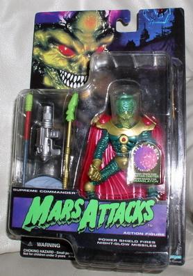 Mars Supreme Commander Attacks Green Martian blue card Action Figurine