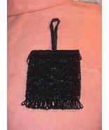 Vintage Atlantico Original Black Bead Evening Bag Purse Hand Made Hong Kong - $64.35