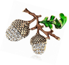 SKZKK Pine Cone Brooch Pins,Fashion Crystal Enamel for Women Dress - $16.97
