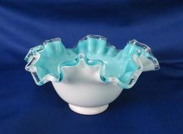 Fenton, Bowl, aqua Jamestown, Double Crimped, Turquoise No. 7227 SJ, c. ... - $28.00