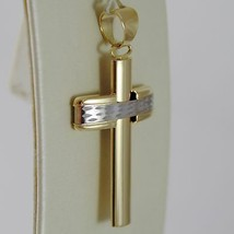 18K YELLOW WHITE GOLD CROSS SMOOTH STYLIZED FINELY WORKED CURVED MADE IN ITALY image 2