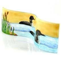 Fused Art Glass Sunset Black & White Loon Duck Wavy Decor Piece Handmade Ecuador image 2