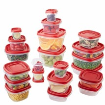 Kitchen Plastic Lids Food Storage Container Set Lunch Meal Box 42 pc Rub... - $39.51