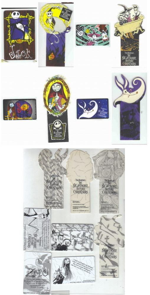 Nightmare Before Christmas set of 8 Bookmarkes RARE