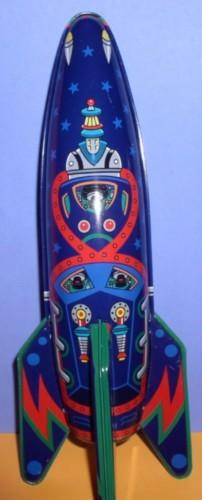 Rocket Ship Mars Raider X-2 Friction Powered Tin toy