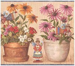 Prepasted Wallpaper Border - Yellow Pink Red White Flowers in Pots Angel... - $17.81