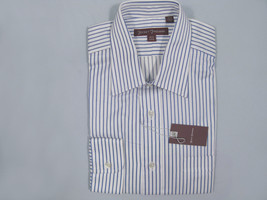 NEW $195 Hickey Freeman Crisp Shirt!  17.5 36  *White with Blue Stripes * - $79.99