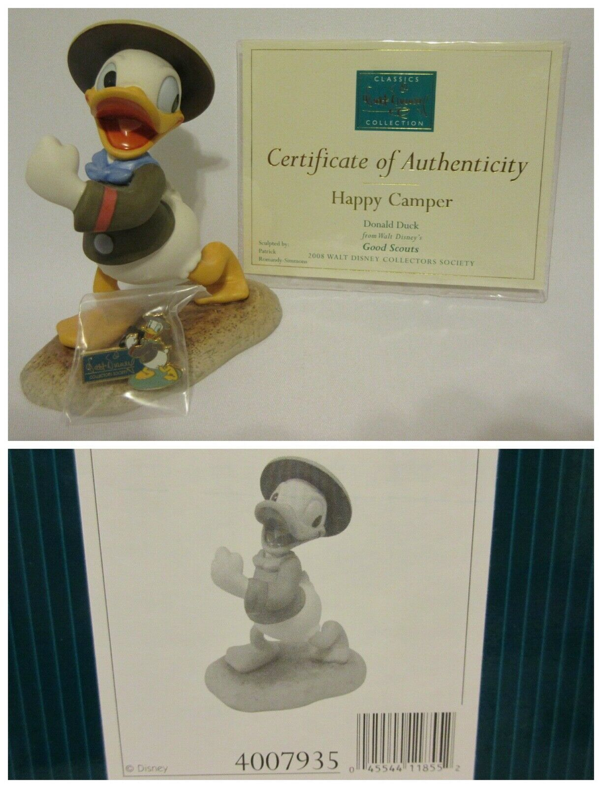"""WDCC """"Happy Camper"""" Donald Duck from Disney's Good Scouts in Box COA Pin - $49.47"""