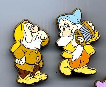 Snow White and the Seven Dwarfs UK Plastic -  2 pin set Pin/Pins