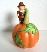 Vintage 1990 Avon Thanksgiving Bell with a Pilgrim Standing on a Giant Pumpkin - $12.99