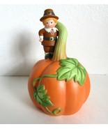 Vintage 1990 Avon Thanksgiving Bell with a Pilgrim Standing on a Giant P... - $12.99