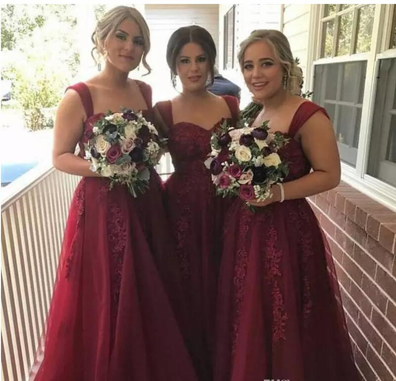 Primary image for A Line Burgundy Tulle Formal Prom Dresses Sweet Appliqued Long Bridesmaid Dress