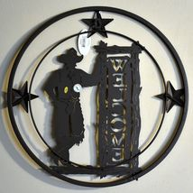 """Country Western Cowboy Ranch Farm Rustic Metal Wall Welcome Sign 17.75"""" image 3"""