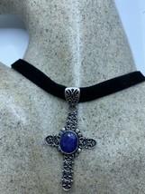 Vintage Blue Raw Sapphire Cross choker pearl pendant necklace - $75.24