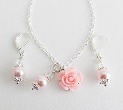 Pink jewelry set, flower girl jewelry, pink flower necklace, flower earr... - $14.45
