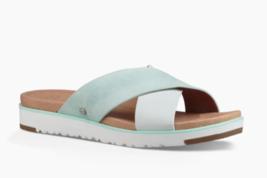 UGG Women Criss Cross Slide Sandals Kari Size US 7.5 Aqua Leather Suede - $74.00