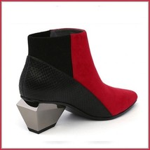 Red And Black Split Color Suede Genuine Cow Leather Cuban Heel Ankle Boots image 2