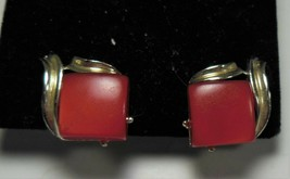 Gold Tone & Red Lucite Clip on Earrings - $10.88