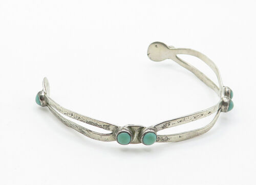 MEXICO 925 Silver - Vintage Antique Petite Turquoise Cuff Bracelet - B6200