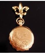 Antique bird 14KT yellow Gold Pocketwatch & 14kt fleur de lis watch brooch - $1,250.00