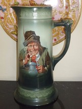 "ANTIQUE HAND PAINTED TANKARD 11 7/8"" HIGH - $199.00"