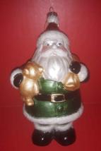 "Santa Claus W/ Teddy & Toy Sack Christmas Ornament 5"" Tall 2010 NWT - $6.34"