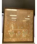 Framed Antique Alphabet Sampler English * Dated 1838 Linen Silk - $494.99