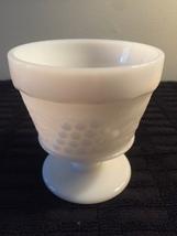 Vintage 70s Hazel Atlas Milk Glass grape pattern footed bowl/sherbet cup image 4