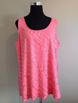 Ellen Tracy Pink Cotton Blend Sleeveless Blouse w/gold studs & sequins -... - $5.76