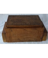 Vintage Wooden Wood Inlaid Cigarette Box w/ Auto Opening Ashtrays Tobacc... - $24.99