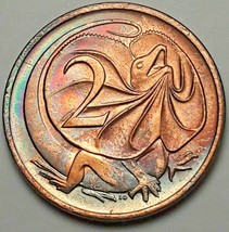 1975 AUSTRALIA 2 TWO CENTS BU BEAUTIFUL NEON TONED COLOR GEM UNC CHOICE ... - $49.49