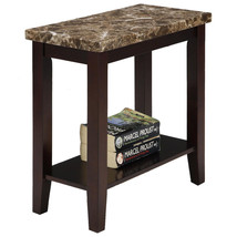 Marble Style Wood Chair Side End Table with Shelf in Espresso Finish - $88.88