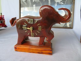 Mid century Bauhaus Elephant wood clock scandinavian Design - $80.00