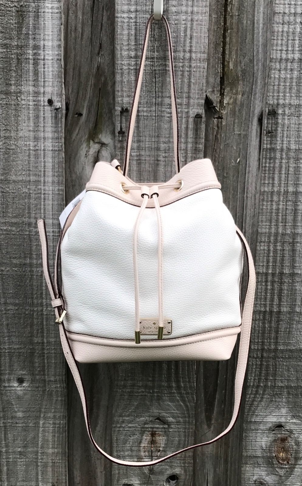 NEW Kate Spade Oliver Street JACEY Bucket Bag Cream/Pebble Leather NWT $359